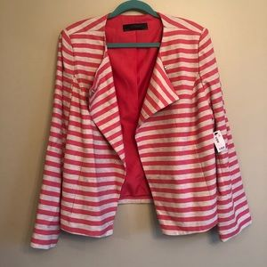 NWT The Limited Coral and Cream Striped blazer XL